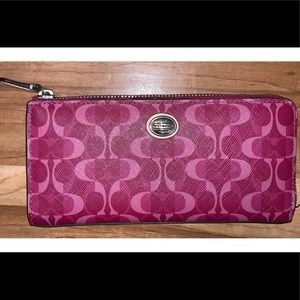 COACH pink signature leather full size wallet